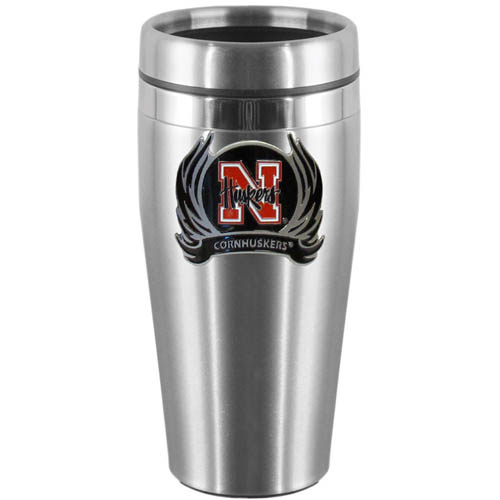 Nebraska Flame Steel Travel Mug - Show off your school pride with this 14 oz stainless steel lidded travel mug with brushed finish. The mug features a cast & enameled Nebraska Cornhuskers emblem. Thank you for shopping with CrazedOutSports.com