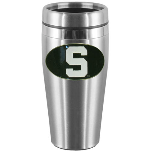 Michigan St. Steel Travel Mug - Show off your school pride with this 14 oz stainless steel lidded travel mug with brushed finish. The mug features a cast & enameled Michigan St. Spartans emblem. Thank you for shopping with CrazedOutSports.com