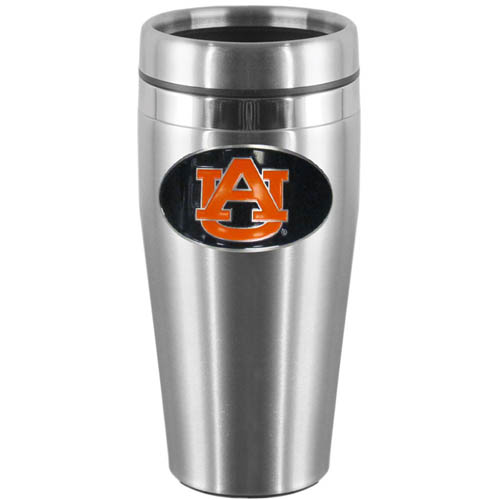 Auburn Tigers Steel Travel Mug - Show off your Auburn Tigers pride with this 14 oz stainless steel lidded travel mug with brushed finish. The mug features a cast & enameled Auburn Tigers emblem. Thank you for shopping with CrazedOutSports.com
