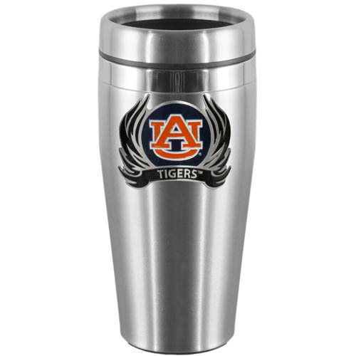 Auburn Tigers Flame Steel Travel Mug - Show off your Auburn Tigers school pride with this 14 oz stainless steel lidded travel mug with brushed finish. The mug features a cast & enameled Auburn Tigers emblem. Thank you for shopping with CrazedOutSports.com