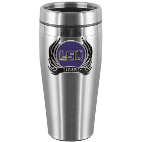LSU Tigers Flame Steel Travel Mug - Show off your school pride with this 14 oz stainless steel LSU Tigers Flame lidded travel mug with brushed finish. The mug features a cast & enameled LSU Tigers emblem. Thank you for shopping with CrazedOutSports.com