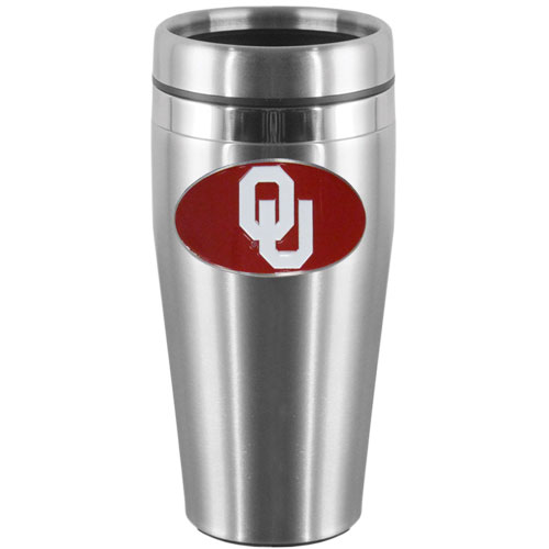 Oklahoma Steel Travel Mug - Show off your school pride with this 14 oz stainless steel lidded travel mug with brushed finish. The mug features a cast & enameled Oklahoma Sooners emblem. Thank you for shopping with CrazedOutSports.com
