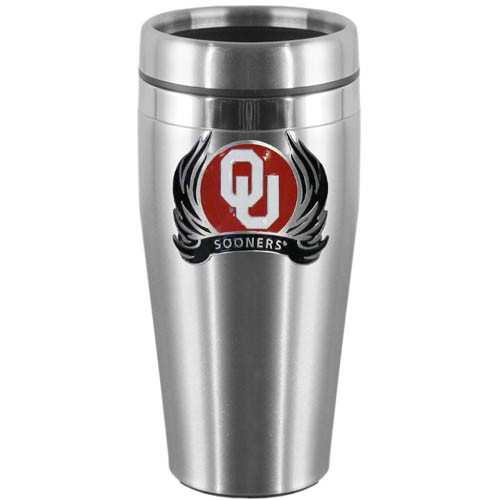 Oklahoma Flame Steel Travel Mug - Show off your school pride with this 14 oz stainless steel lidded travel mug with brushed finish. The mug features a cast & enameled Oklahoma Sooners emblem. Thank you for shopping with CrazedOutSports.com