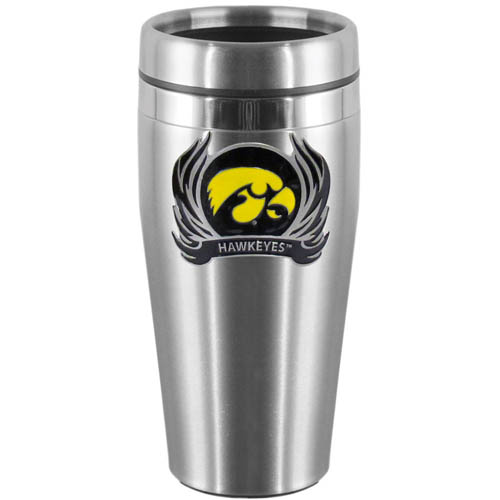 Iowa Hawkeyes Flame Steel Travel Mug - Show off your school pride with this Iowa Hawkeyes 14 oz stainless steel lidded travel mug with brushed finish. The mug features a cast & enameled Iowa Hawkeyes emblem. Thank you for shopping with CrazedOutSports.com