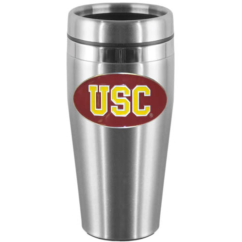 USC Steel Travel Mug - Show off your school pride with this 14 oz stainless steel lidded travel mug with brushed finish. The mug features a cast & enameled USC Trojans emblem. Thank you for shopping with CrazedOutSports.com