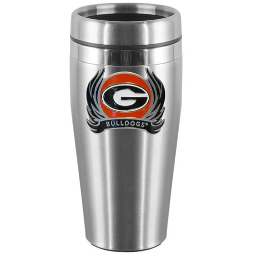 Georgia Bulldogs Flame Steel Travel Mug - Show off your Georgia Bulldogs school pride with this 14 oz stainless steel lidded travel mug with brushed finish. The Georgia Bulldogs Flame Steel Travel Mug features a cast & enameled Georgia Bulldogs emblem. Thank you for shopping with CrazedOutSports.com