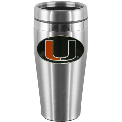 Miami Hurricanes Steel Travel Mug - Show off your school pride with this 14 oz stainless steel Miami Hurricanes lidded travel mug with brushed finish. The mug features a cast & enameled Miami Hurricanes emblem. Thank you for shopping with CrazedOutSports.com