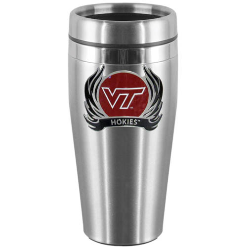 Virginia Tech Flame Steel Travel Mug - Show off your school pride with this 14 oz stainless steel lidded travel mug with brushed finish. The mug features a cast & enameled Virginia Tech Hokies emblem. Thank you for shopping with CrazedOutSports.com