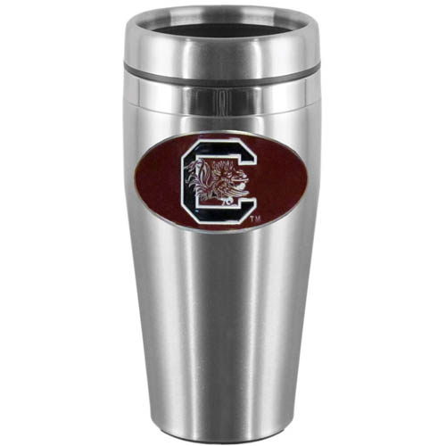 S. Carolina Steel Travel Mug - Show off your school pride with this 14 oz stainless steel lidded travel mug with brushed finish. The mug features a cast & enameled S. Carolina Gamecocks emblem. Thank you for shopping with CrazedOutSports.com