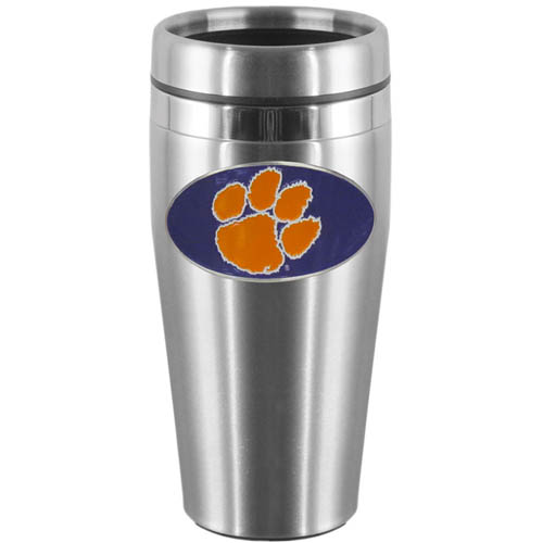 Clemson Tigers Steel Travel Mug - Show off your school pride with this 14 oz stainless steel lidded travel mug with brushed finish. The mug features a cast & enameled Clemson Tigers emblem. Thank you for shopping with CrazedOutSports.com