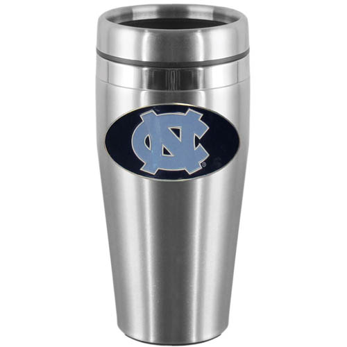 N. Carolina Steel Travel Mug - Show off your school pride with this 14 oz stainless steel lidded travel mug with brushed finish. The mug features a cast & enameled N. Carolina Tar Heels emblem. Thank you for shopping with CrazedOutSports.com