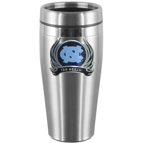 N. Carolina Flame Steel Travel Mug - Show off your school pride with this 14 oz stainless steel lidded travel mug with brushed finish. The mug features a cast & enameled N. Carolina Tar Heels emblem. Thank you for shopping with CrazedOutSports.com