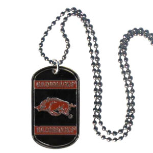 "Arkansas Razorbacks Tag Necklace - Expertly crafted Arkansas Razorbacks tag necklaces featuring fine detailing and a hand enameled finish with chrome accents. 26""Chain. Thank you for shopping with CrazedOutSports.com"