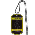 Wyoming Cowboys Tag Necklace - Expertly crafted Wyoming Cowboys tag necklaces featuring fine detailing and a hand enameled finish with chrome accents. 26 inch ball chain.