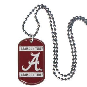 "Alabama Tag Necklace - Expertly crafted Alabama Crimson Tide tag necklaces featuring fine detailing and a hand enameled finish with chrome accents. 26""Chain. Thank you for shopping with CrazedOutSports.com"