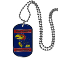 "Kansas Jayhawks Tag Necklace - Expertly crafted Kansas Jayhawks tag necklaces featuring fine detailing and a hand enameled finish with chrome accents. 26"" Chain. Thank you for shopping with CrazedOutSports.com"