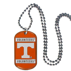 "Tennessee Tag Necklace - Expertly crafted Tennessee Volunteers tag necklaces featuring fine detailing and a hand enameled finish with chrome accents. 26""Chain. Thank you for shopping with CrazedOutSports.com"