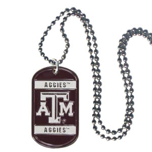 "Texas AandM Tag Necklace - Expertly crafted Texas A & M Aggies tag necklaces featuring fine detailing and a hand enameled finish with chrome accents. 26""Chain. Thank you for shopping with CrazedOutSports.com"