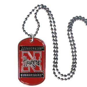 "Nebraska Tag Necklace - Expertly crafted Nebraska Cornhuskers tag necklaces featuring fine detailing and a hand enameled finish with chrome accents. 26""Chain. Thank you for shopping with CrazedOutSports.com"