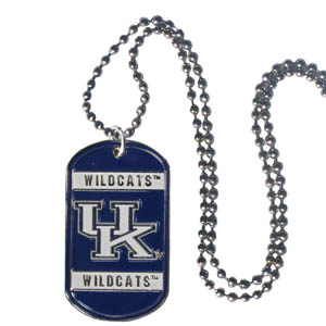 "Kentucky Tag Necklace - Expertly crafted Kentucky Wildcats tag necklaces featuring fine detailing and a hand enameled finish with chrome accents. 26""Chain. Thank you for shopping with CrazedOutSports.com"