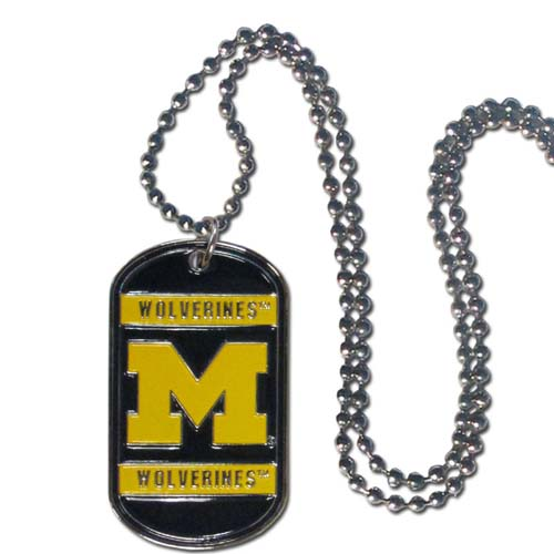 "Michigan Wolverines Tag Necklace - Expertly crafted Michigan Wolverines tag necklace featuring fine detailing and a hand enameled finish with chrome accent 26"" Chain. Michigan Wolverines Tag Necklace is engravable. Thank you for shopping with CrazedOutSports.com"