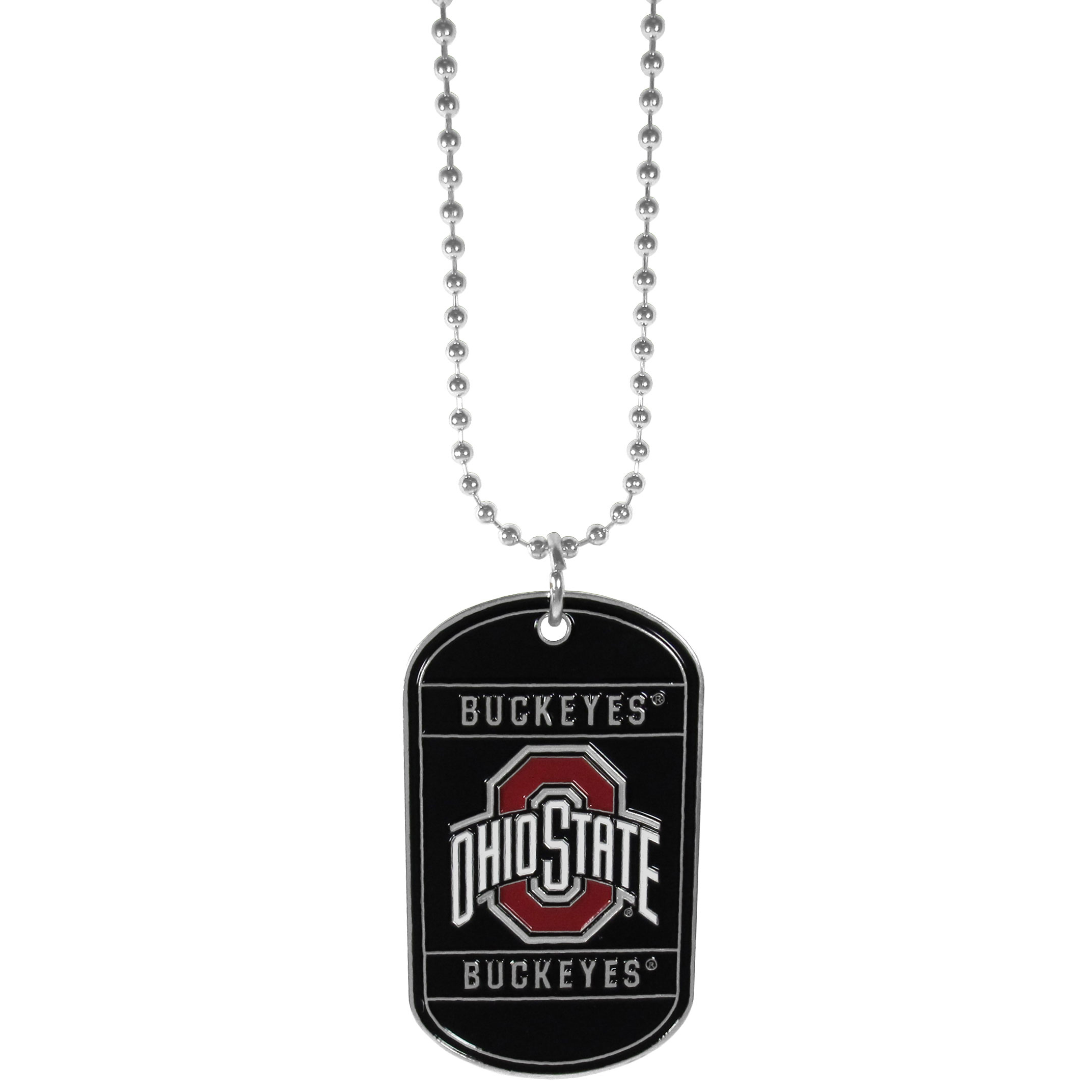 "Ohio St. Buckeyes Tag Necklace - ""Expertly crafted Ohio St. Buckeyes tag necklaces featuring fine detailing and a hand enameled finish with chrome accents. 26""""Chain."""