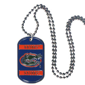 "Florida Tag Necklace - Expertly crafted Florida Gators tag necklaces featuring fine detailing and a hand enameled finish with chrome accents. 26""Chain. Thank you for shopping with CrazedOutSports.com"