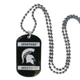 Michigan St. Spartans Tag Necklace - Expertly crafted Michigan St. Spartans Tag Necklace featuring fine detailing and a hand enameled finish with chrome accents. The Michigan St. Spartans Tag Necklace comes with a 26 inch Chain and the emblem is engravable. Thank you for shopping with CrazedOutSports.com