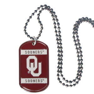 "Oklahoma Tag Necklace - Expertly crafted Oklahoma Sooners tag necklaces featuring fine detailing and a hand enameled finish with chrome accents. 26""Chain. Thank you for shopping with CrazedOutSports.com"