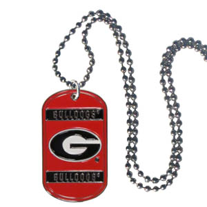 "Georgia Tag Necklace - Expertly crafted Georgia Bulldogs tag necklaces featuring fine detailing and a hand enameled finish with chrome accents. 26""Chain. Thank you for shopping with CrazedOutSports.com"