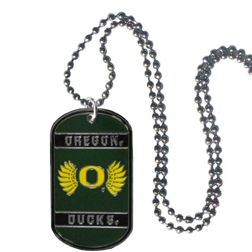 "Oregon Tag Necklace - Expertly crafted Oregon Ducks tag necklaces featuring fine detailing and a hand enameled finish with chrome accents. 26"" Chain. Thank you for shopping with CrazedOutSports.com"