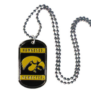 "Iowa Hawkeyes Tag Necklace - Expertly crafted Iowa Hawkeyes tag necklaces featuring fine detailing and a hand enameled finish with chrome accents. 26""Chain. Thank you for shopping with CrazedOutSports.com"
