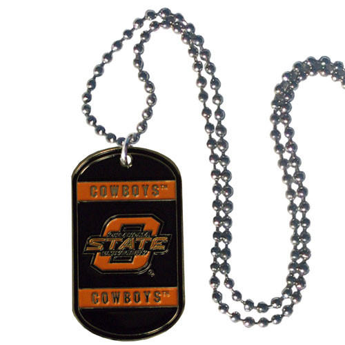 "Oklahoma St. Tag Necklace - Expertly crafted Oklahoma St. tag necklaces featuring fine detailing and a hand enameled finish with chrome accents. 26""Chain.  Thank you for shopping with CrazedOutSports.com"