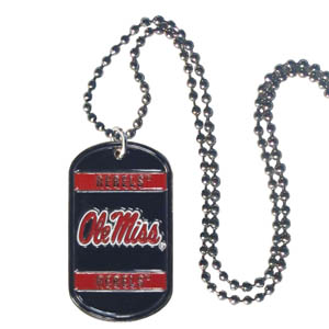"Mississippi Tag Necklace - Expertly crafted Mississippi Rebels tag necklaces featuring fine detailing and a hand enameled finish with chrome accents. 26""Chain. Thank you for shopping with CrazedOutSports.com"