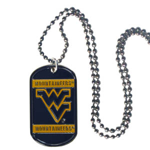 "W. Virginia Tag Necklace - Expertly crafted W. Virginia Mountaineers tag necklaces featuring fine detailing and a hand enameled finish with chrome accents. 26""Chain. Thank you for shopping with CrazedOutSports.com"