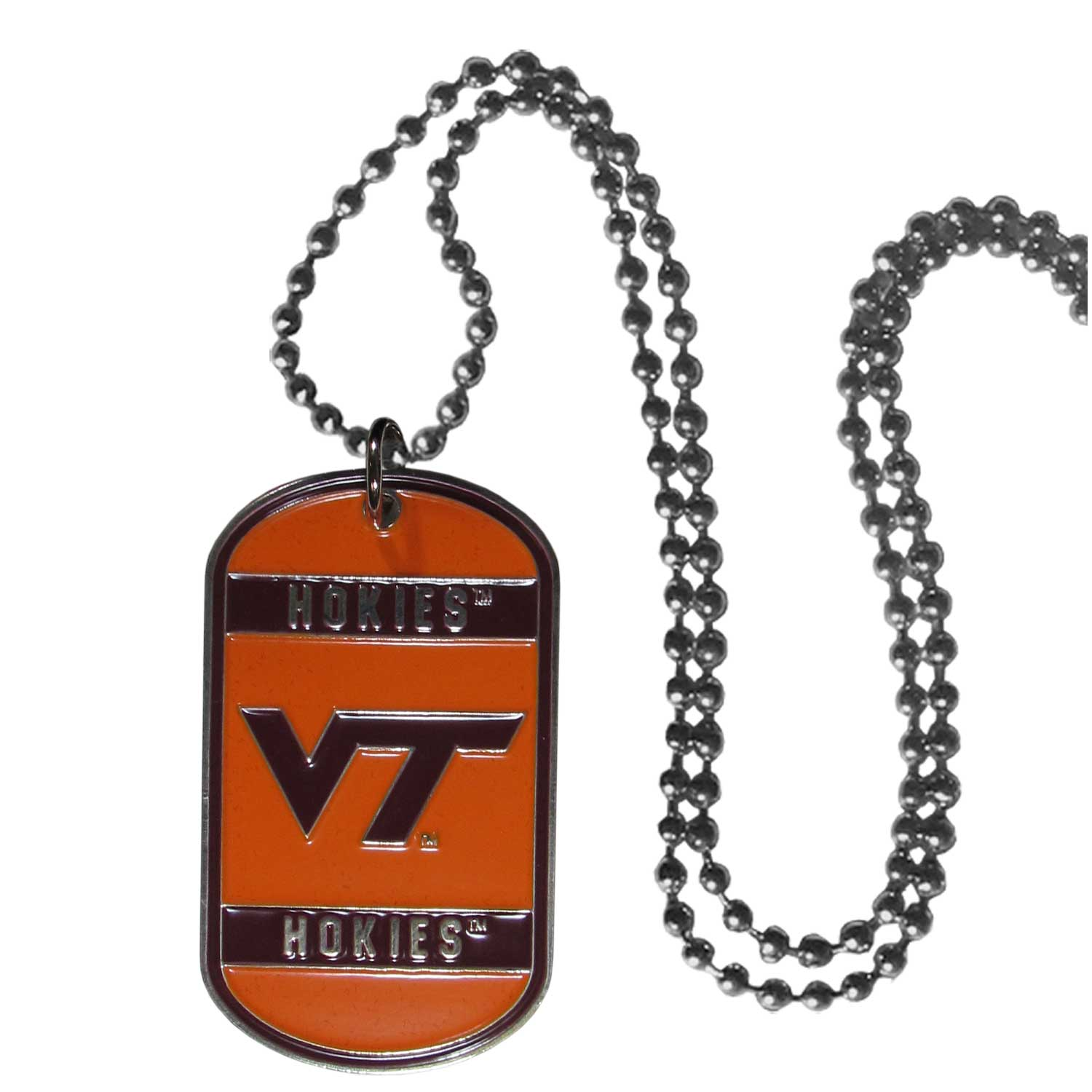 "Virginia Tech Tag Necklace - Expertly crafted Virginia Tech tag necklaces featuring fine detailing and a hand enameled finish with chrome accents. 26""Chain.  Thank you for shopping with CrazedOutSports.com"