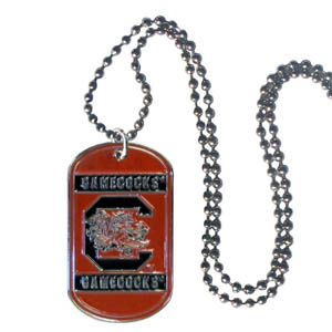 "S. Carolina Tag Necklace - Expertly crafted S. Carolina Gamecocks tag necklaces featuring fine detailing and a hand enameled finish with chrome accents. 26""Chain. Thank you for shopping with CrazedOutSports.com"