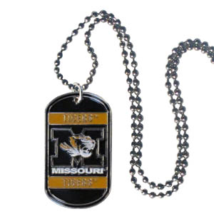 "Missouri Tag Necklace - Expertly crafted Missouri Tigers tag necklaces featuring fine detailing and a hand enameled finish with chrome accents. 26""Chain. Thank you for shopping with CrazedOutSports.com"