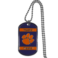 Clemson Tigers Tag Necklace - Expertly crafted Clemson Tigers tag necklaces featuring fine detailing and a hand enameled finish with chrome accents. 26 inch ball chain.