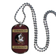 Florida St. Seminoles Tag Necklace - Expertly crafted Florida St. Seminoles tag necklaces featuring fine detailing and a hand enameled finish with chrome accents. 26 inch ball chain. Thank you for shopping with CrazedOutSports.com