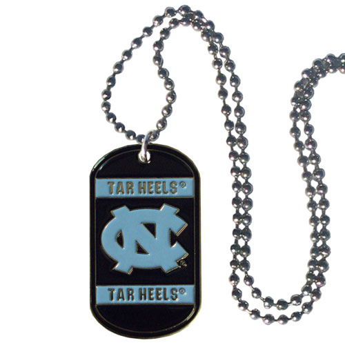 "N. Carolina Tar Heels Tag Necklace - Expertly crafted N. Carolina tag necklaces featuring fine detailing and a hand enameled finish with chrome accents. 26""Chain. Thank you for shopping with CrazedOutSports.com"