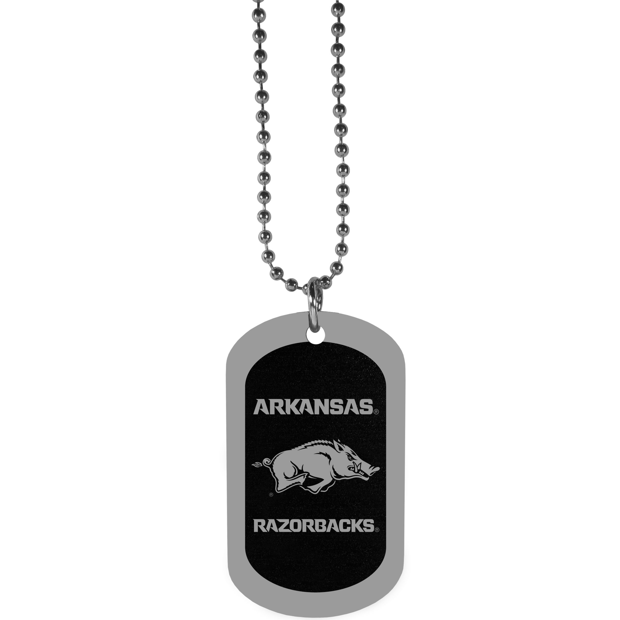Arkansas Razorbacks Chrome Tag Necklace - Dog tag necklaces are a fashion statement that is here to stay. The sporty version of the classic tag features a black printed over a high polish tag to create a bold and sporty look. The tag comes on a 26 inch ball chain with a ball and joint clasp. Any Arkansas Razorbacks would be proud to wear this attractive fashion accessory.