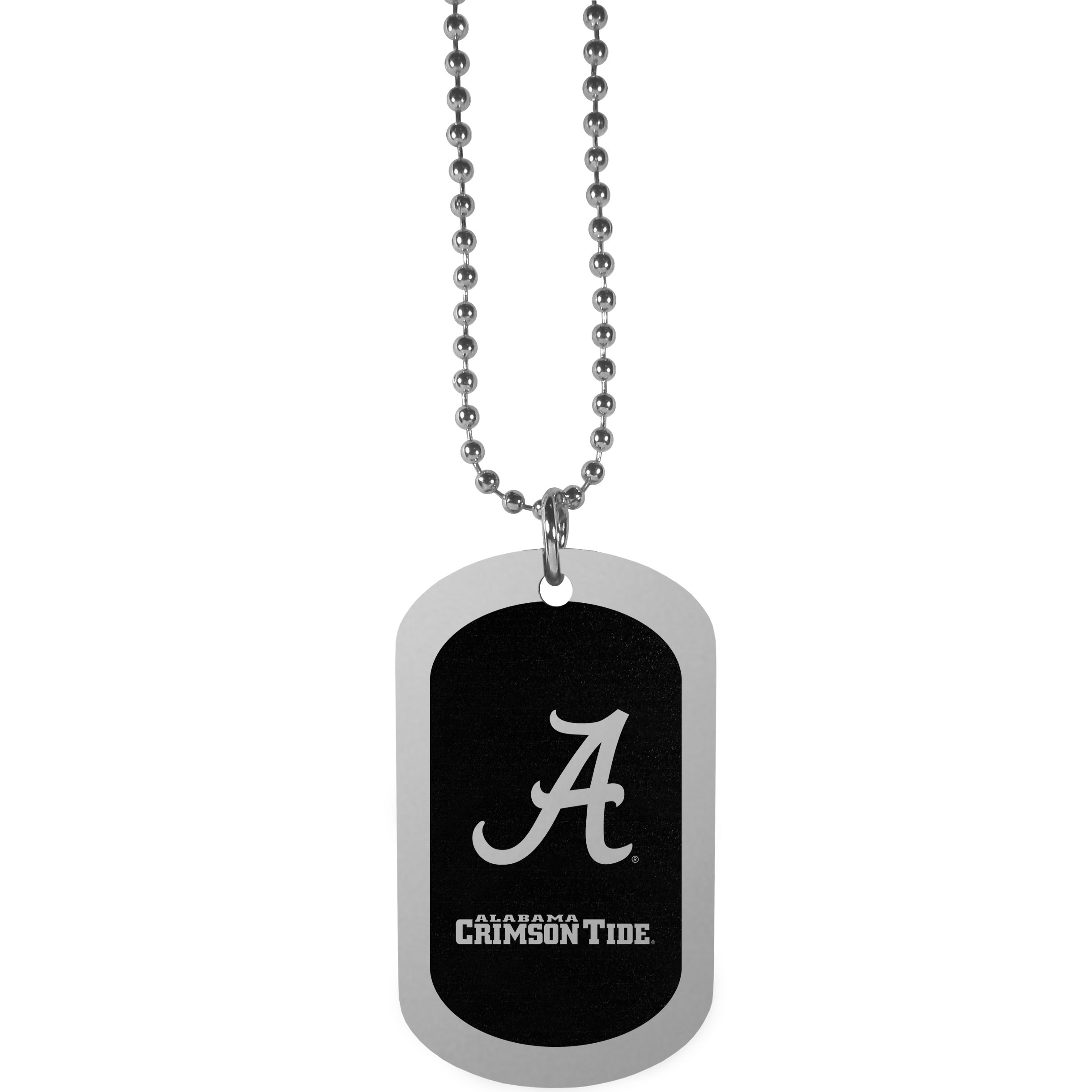 Alabama Crimson Tide Chrome Tag Necklace - Dog tag necklaces are a fashion statement that is here to stay. The sporty version of the classic tag features a black printed over a high polish tag to create a bold and sporty look. The tag comes on a 26 inch ball chain with a ball and joint clasp. Any Alabama Crimson Tide would be proud to wear this attractive fashion accessory.