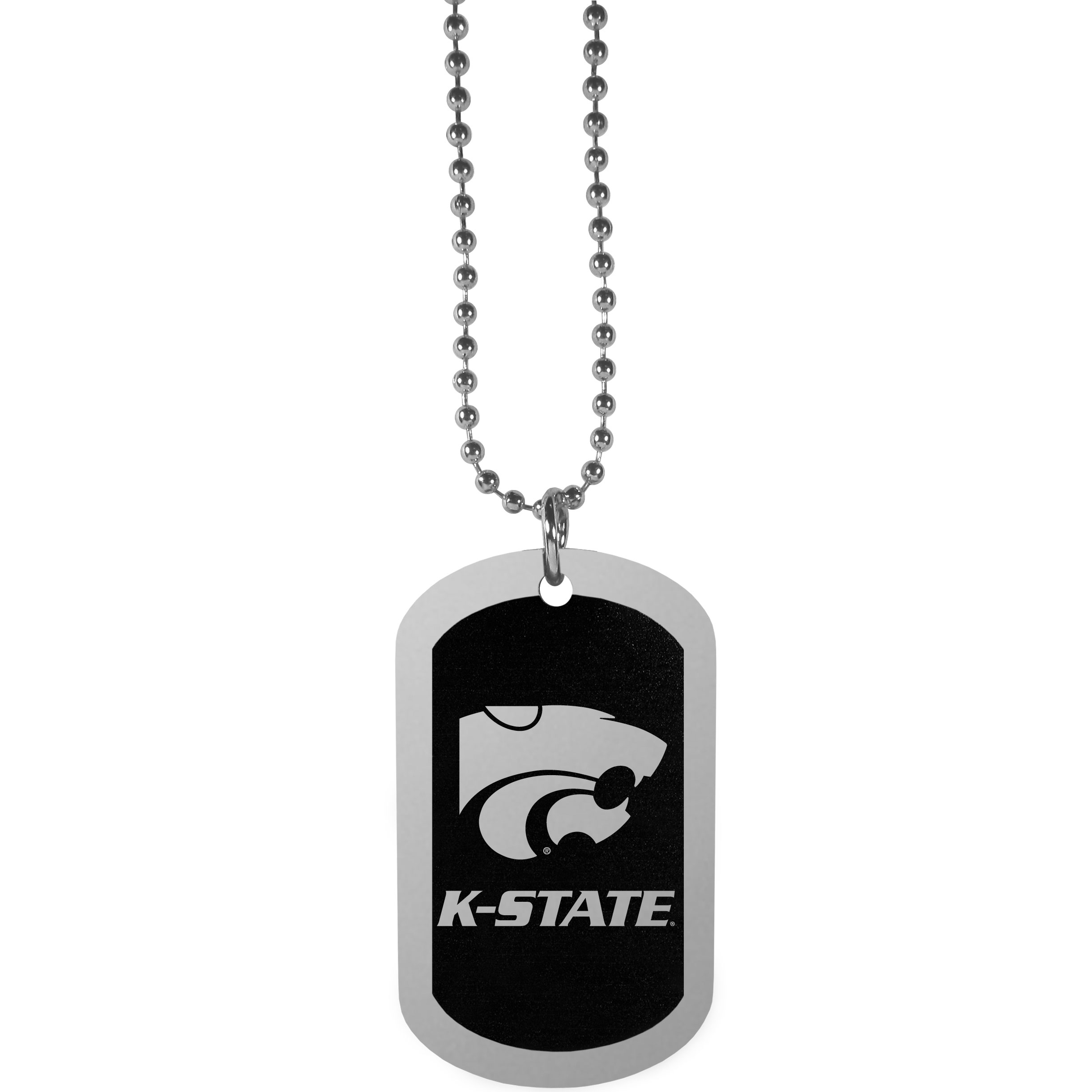 Kansas St. Wildcats Chrome Tag Necklace - Dog tag necklaces are a fashion statement that is here to stay. The sporty version of the classic tag features a black printed over a high polish tag to create a bold and sporty look. The tag comes on a 26 inch ball chain with a ball and joint clasp. Any Kansas St. Wildcats would be proud to wear this attractive fashion accessory.