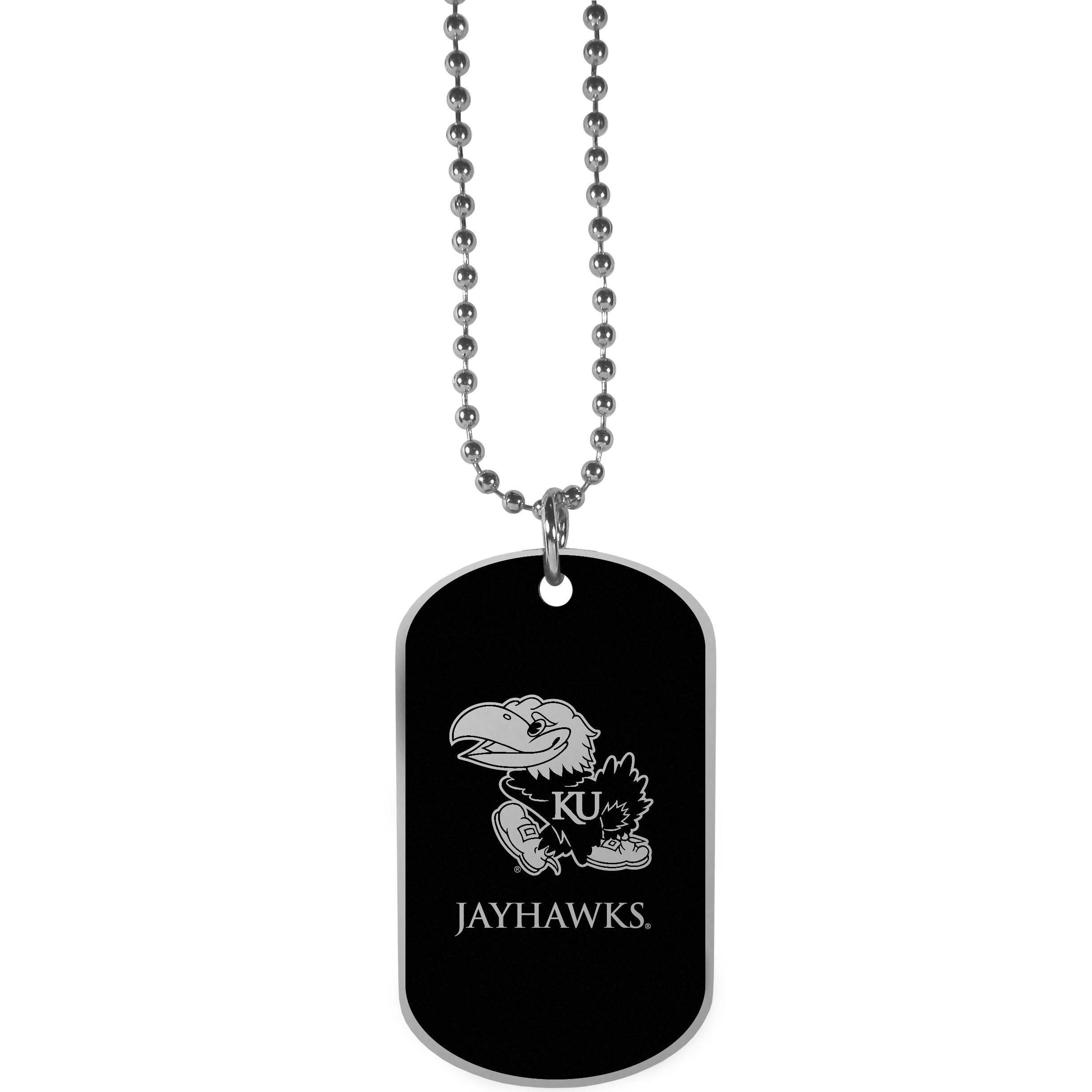 Kansas Jayhawks Chrome Tag Necklace - Dog tag necklaces are a fashion statement that is here to stay. The sporty version of the classic tag features a black printed over a high polish tag to create a bold and sporty look. The tag comes on a 26 inch ball chain with a ball and joint clasp. Any Kansas Jayhawks would be proud to wear this attractive fashion accessory.