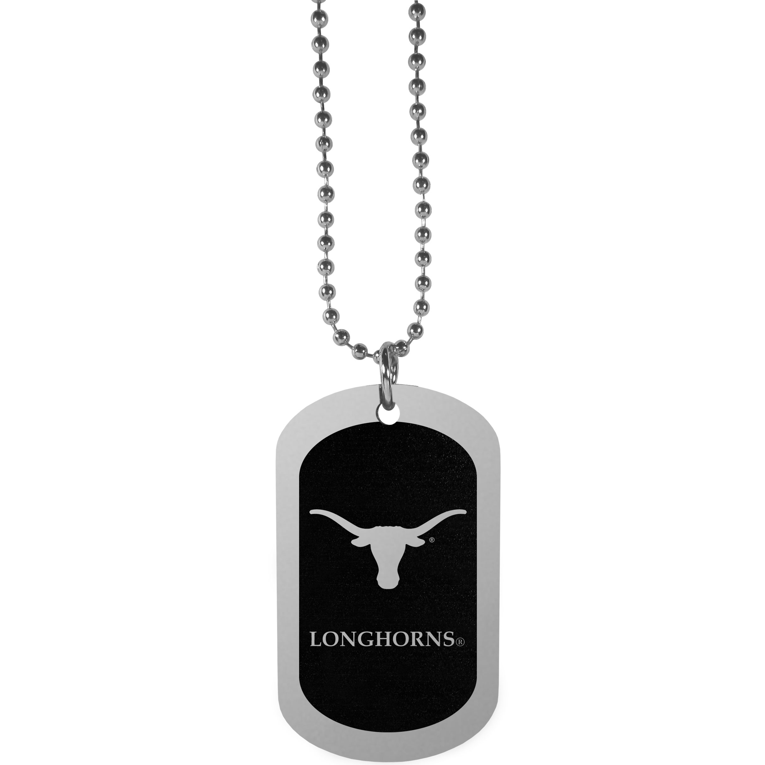 Texas Longhorns Chrome Tag Necklace - Dog tag necklaces are a fashion statement that is here to stay. The sporty version of the classic tag features a black printed over a high polish tag to create a bold and sporty look. The tag comes on a 26 inch ball chain with a ball and joint clasp. Any Texas Longhorns would be proud to wear this attractive fashion accessory.