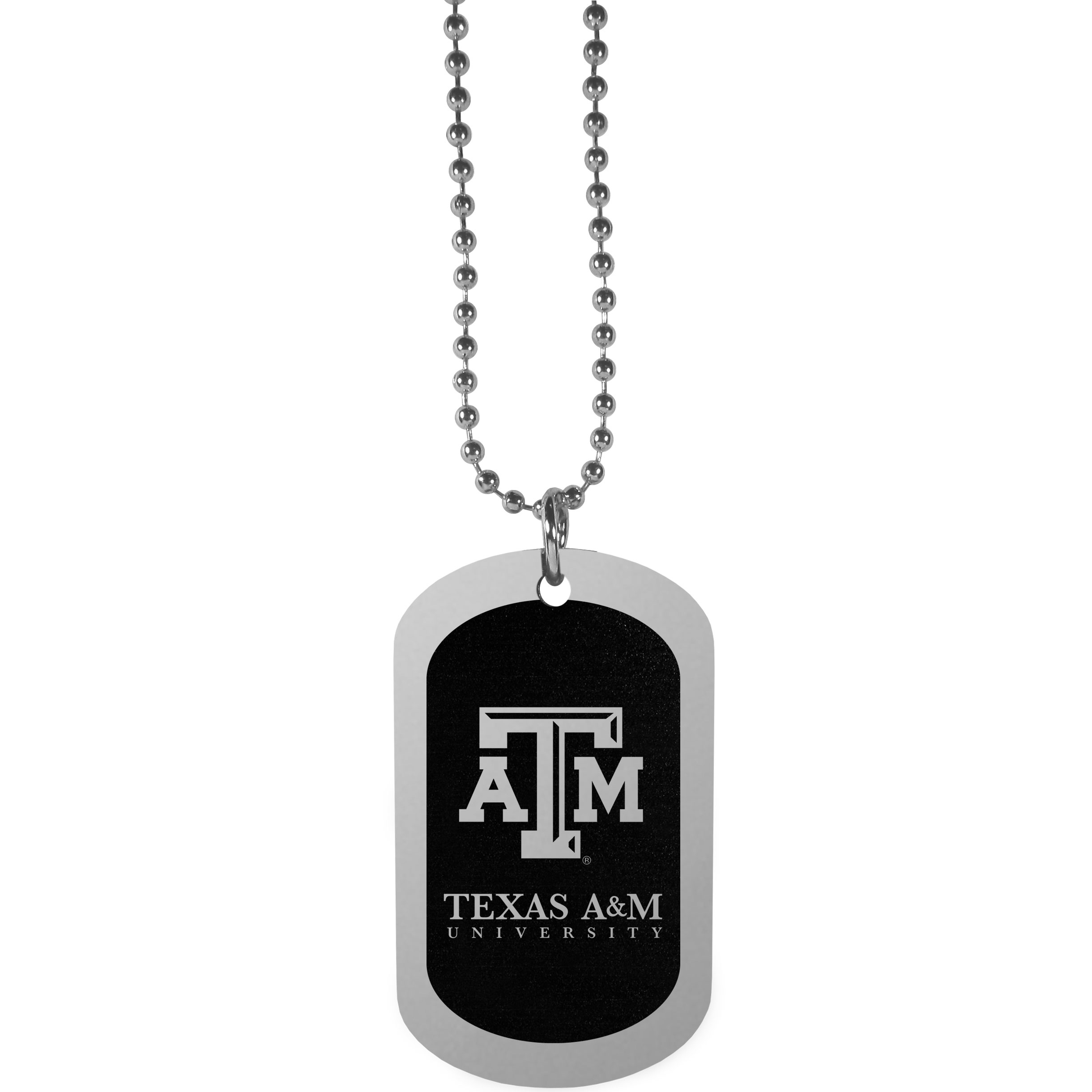 Texas A and M Aggies Chrome Tag Necklace - Dog tag necklaces are a fashion statement that is here to stay. The sporty version of the classic tag features a black printed over a high polish tag to create a bold and sporty look. The tag comes on a 26 inch ball chain with a ball and joint clasp. Any Texas A & M Aggies would be proud to wear this attractive fashion accessory.