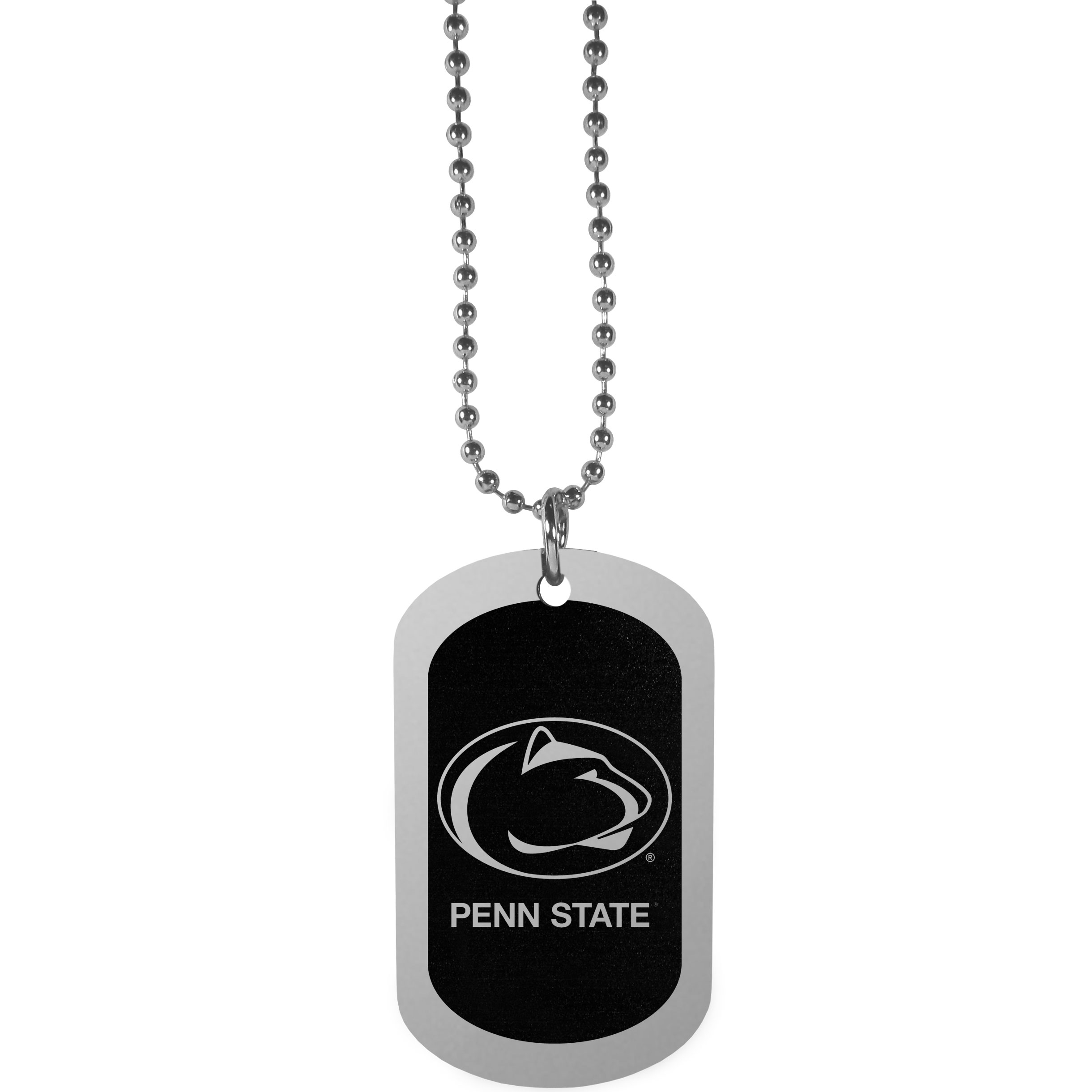 Penn St. Nittany Lions Chrome Tag Necklace - Dog tag necklaces are a fashion statement that is here to stay. The sporty version of the classic tag features a black printed over a high polish tag to create a bold and sporty look. The tag comes on a 26 inch ball chain with a ball and joint clasp. Any Penn St. Nittany Lions would be proud to wear this attractive fashion accessory.