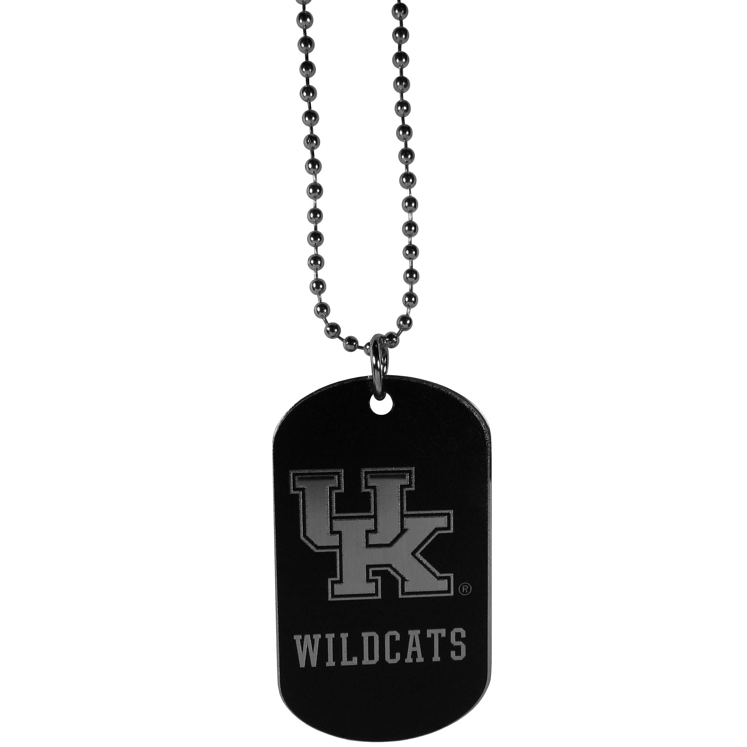 Kentucky Wildcats Chrome Tag Necklace - Dog tag necklaces are a fashion statement that is here to stay. The sporty version of the classic tag features a black printed over a high polish tag to create a bold and sporty look. The tag comes on a 26 inch ball chain with a ball and joint clasp. Any Kentucky Wildcats would be proud to wear this attractive fashion accessory.