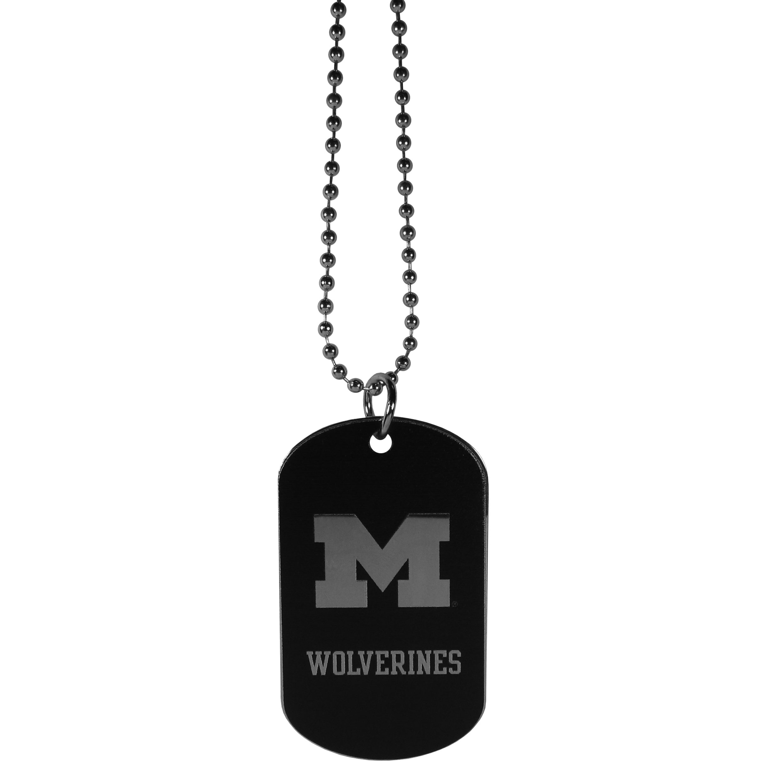 Michigan Wolverines Chrome Tag Necklace - Dog tag necklaces are a fashion statement that is here to stay. The sporty version of the classic tag features a black printed over a high polish tag to create a bold and sporty look. The tag comes on a 26 inch ball chain with a ball and joint clasp. Any Michigan Wolverines would be proud to wear this attractive fashion accessory.